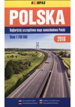 Polska Najbardziej szczegółowa mapa samochodowa Polski 1:700 000