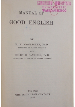 Manual of Good English , 1936 r.