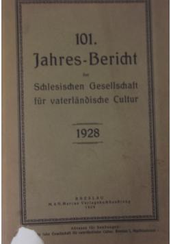 1Jahres-Bericht der Schlesischen Gesselschaft fur vaterlandische Cultur 1928, 1929r.