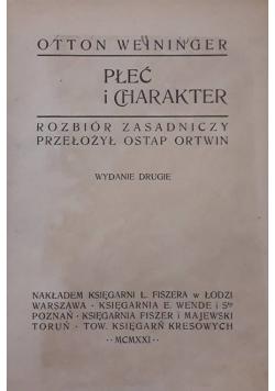 Płeć i charakter , 1921 r.