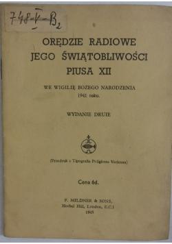 Orędzie radiowe jego świątobliwości piusa XII, 1945r.
