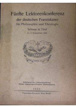 Funfte Lektorenkonferenz der deutschen Franziskaner fur Philosophie und Theologie, 1930 r.