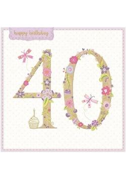 Karnet kwadrat z kopertą Urodziny 40