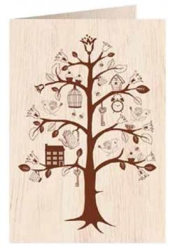 Karnet drewniany C6 + koperta Drzewo życia