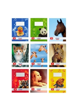 Zeszyt A5/32K linia podwójna Animals mix (10szt)