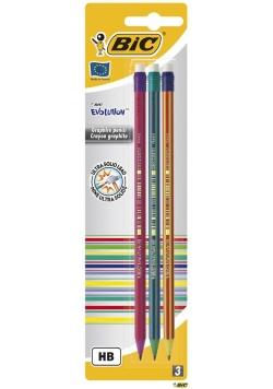 Ołówek Evolution z gumką bls 3szt BIC