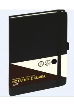 Notatnik A5/80K kratka z gumką czarny GRAND