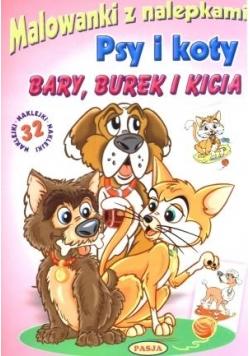 Malowanki z nalepkami. Psy i koty. Bary, Burek i K