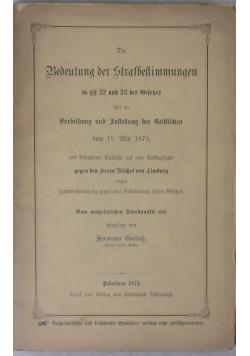 Bedeutung der Strafbestimmungen, 1874 r.