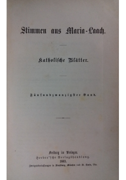 Stimmen aus Maria-Laach katholische Blätter, 1883 r.