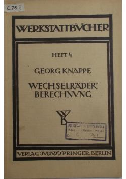 Wechselrader berechnvng, 1936 r.