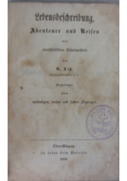 Lebensbeschreibung, Abenteuer und Reisen, 1856 r.