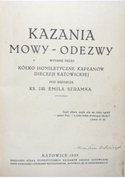 Kazania Mowy Odezwy , 1933 r.