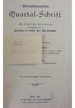 Theologisch praktische quartal schrift, 1898r.