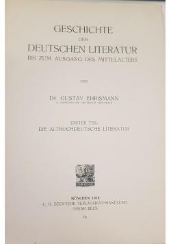 Geschichte der Deutschen Literatur, 1918r.
