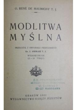 Modlitwa myślna, 1931 r.