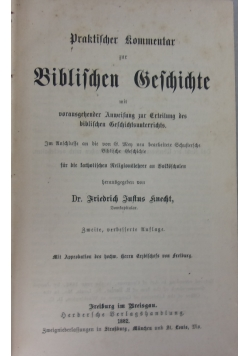 Biblifchen Sefchidtte 1882 r.