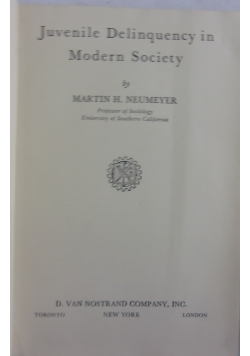Juvenile delinquency in modern society, 1949 r.