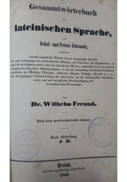 Gesammtworterbuch der lateinischen Sprache , 1844 r.