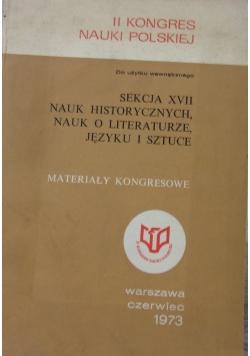 Sekcja XVII nauk historycznych, nauk o literaturze, języku i sztuce
