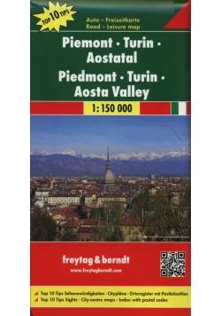 Piemont Turyn Dolina Aosty mapa samochodowa 1:150 000