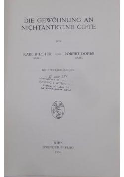 Die gewohnung an nichtantigene gifte, 1950 r.