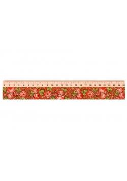 Linijka drewniana 25 cm góralska czerwona FOLKSTAR