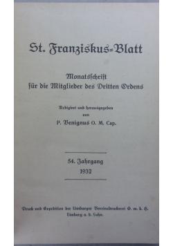 St. Franziskaus=Blatt, 1932r.