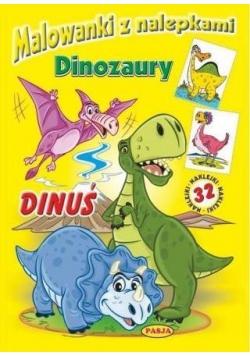 Malowanki z nalepkami. Dinozaury. Dinuś