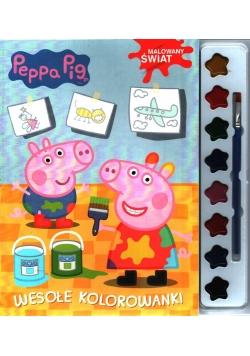 Świnka Peppa. Wesołe kolorowanki + farbki