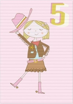 Karnet B6 z kopertą Urodziny 5 dziewczynka