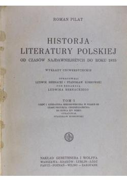 Historja literatury polskiej, t. I, 1926 r.