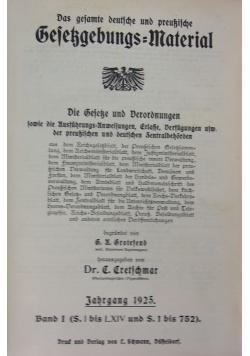 Das gesamte deutsche und Preussische Gesessgebungs Material, 1925 r.