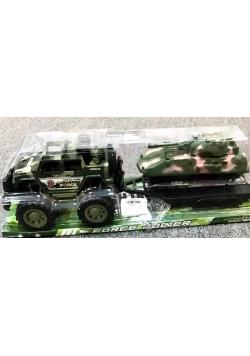 Auto wojskowe z lawetą + czołg
