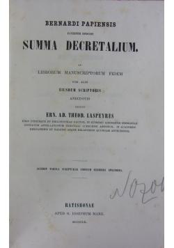Bernardi Papiensis faventini episcopi Summa Decretalium. 1860 r.