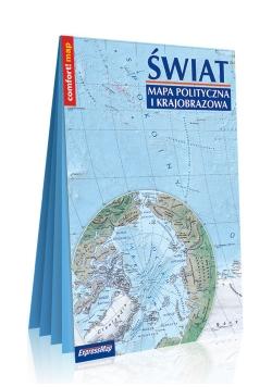 Świat Mapa polityczna i krajobrazowa laminowana w formacie XXL