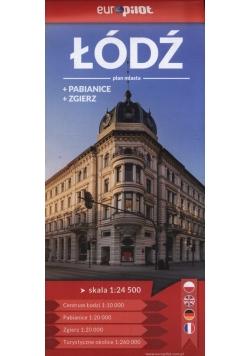 Łódź Zgierz Pabianice Plan miasta 1:24 500