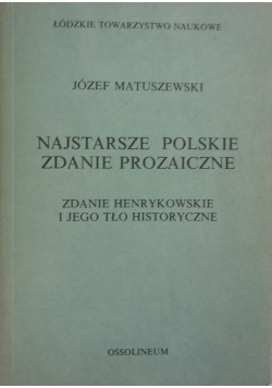Najstarsze polskie zdanie prozaiczne