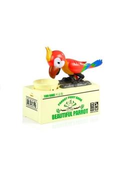 Skarbonka papuga zjada monety czerwona