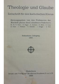 Theologie und Glaube, 1925r.