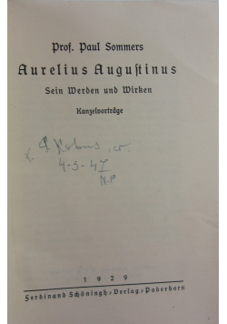 Aurelius Augutinus ,1929