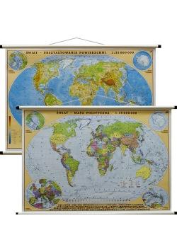 Świat mapa ścienna dwustronna polityczna i fizyczna 1:35 000 000