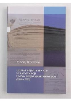 Udział sejmu i senatu w ratyfikacji umów międzynarodowych (1919-2003)