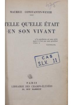 Telle quelle etait en son vivant , 1936 r.