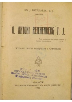 O. Antoni Reichenberg T.J., 1922 r.