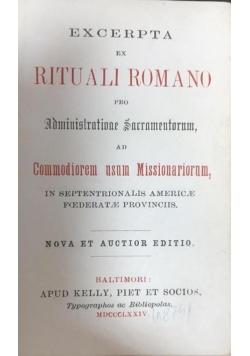 Excerpta ex rituali Romano pro Administrationae Sacramentorum, 1874 r.