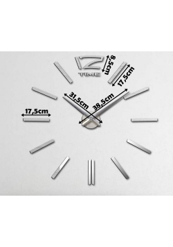 Duży nowoczesny zegar na ścianę srebrne kreski