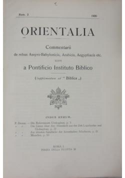 Orientalia, 1920 r.