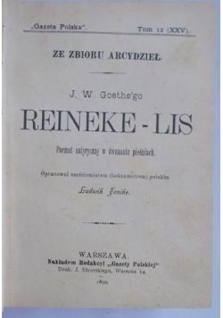 Reineke-Lis. Poemat satyryczny w dwunastu  pieśniach, 1899 r.