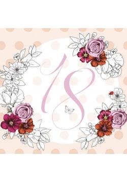 Karnet Swarovski kwadrat Urodziny 18 kwiaty